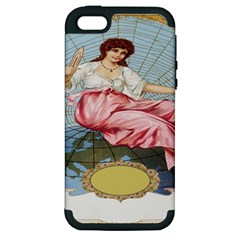 Vintage Art Collage Lady Fabrics Apple iPhone 5 Hardshell Case (PC+Silicone)