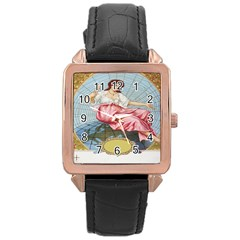 Vintage Art Collage Lady Fabrics Rose Gold Leather Watch