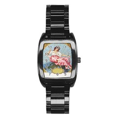 Vintage Art Collage Lady Fabrics Stainless Steel Barrel Watch