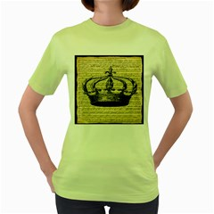 Vintage Music Sheet Crown Song Women s Green T Shirt