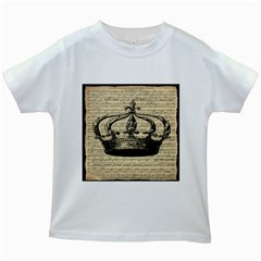 Vintage Music Sheet Crown Song Kids White T Shirts