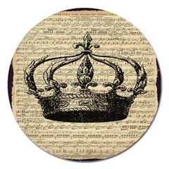Vintage Music Sheet Crown Song Magnet 5  (round)