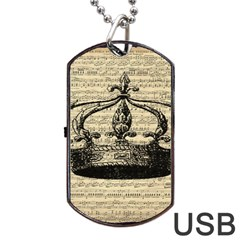 Vintage Music Sheet Crown Song Dog Tag Usb Flash (one Side)