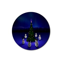 Waiting For The Xmas Christmas Rubber Round Coaster (4 Pack)