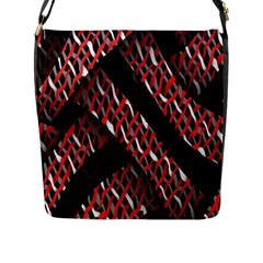 Weave And Knit Pattern Seamless Flap Messenger Bag (l)