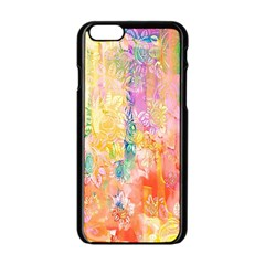 Watercolour Watercolor Paint Ink Apple iPhone 6/6S Black Enamel Case