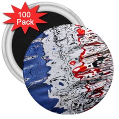 Water Reflection Abstract Blue 3  Magnets (100 Pack)