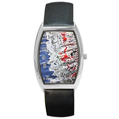Water Reflection Abstract Blue Barrel Style Metal Watch