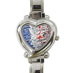 Water Reflection Abstract Blue Heart Italian Charm Watch