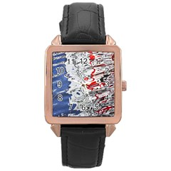 Water Reflection Abstract Blue Rose Gold Leather Watch