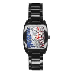 Water Reflection Abstract Blue Stainless Steel Barrel Watch