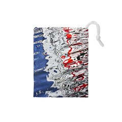Water Reflection Abstract Blue Drawstring Pouches (small)
