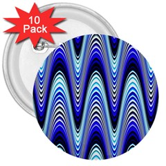 Waves Wavy Blue Pale Cobalt Navy 3  Buttons (10 Pack)  by Nexatart