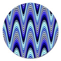Waves Wavy Blue Pale Cobalt Navy Magnet 5  (round)
