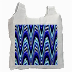 Waves Wavy Blue Pale Cobalt Navy Recycle Bag (one Side)