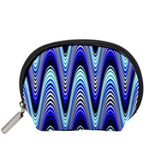 Waves Wavy Blue Pale Cobalt Navy Accessory Pouches (small)  by Nexatart