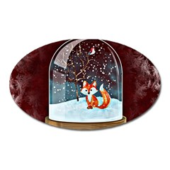 Winter Snow Ball Snow Cold Fun Oval Magnet