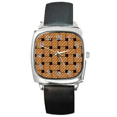 Wood Texture Weave Pattern Square Metal Watch