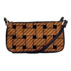 Wood Texture Weave Pattern Shoulder Clutch Bags by Nexatart