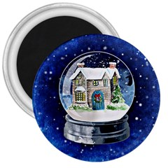 Winter Snow Ball Snow Cold Fun 3  Magnets by Nexatart