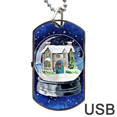 Winter Snow Ball Snow Cold Fun Dog Tag Usb Flash (two Sides) by Nexatart