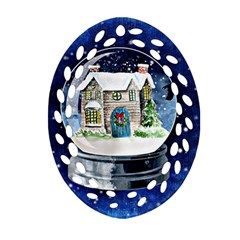 Winter Snow Ball Snow Cold Fun Ornament (oval Filigree) by Nexatart