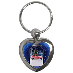 Winter Snow Ball Snow Cold Fun Key Chains (heart)  by Nexatart