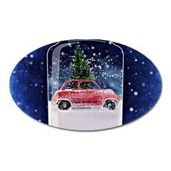 Winter Snow Ball Snow Cold Fun Oval Magnet by Nexatart