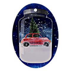 Winter Snow Ball Snow Cold Fun Oval Ornament (two Sides)