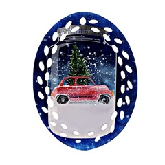 Winter Snow Ball Snow Cold Fun Oval Filigree Ornament (two Sides) by Nexatart