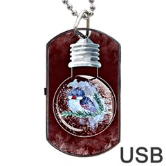 Winter Snow Ball Snow Cold Fun Dog Tag Usb Flash (one Side)