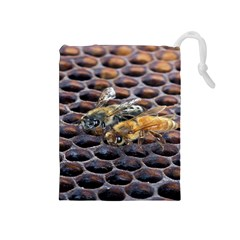 Worker Bees On Honeycomb Drawstring Pouches (medium)