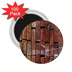 Wood Logs Wooden Background 2 25  Magnets (100 Pack)