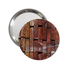Wood Logs Wooden Background 2 25  Handbag Mirrors