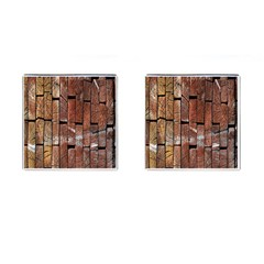 Wood Logs Wooden Background Cufflinks (square) by Nexatart