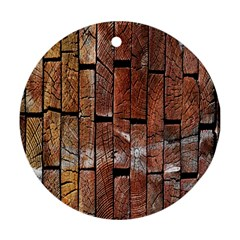 Wood Logs Wooden Background Round Ornament (two Sides) by Nexatart