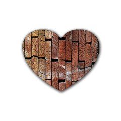 Wood Logs Wooden Background Rubber Coaster (heart)