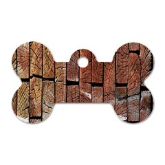 Wood Logs Wooden Background Dog Tag Bone (one Side)