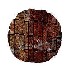 Wood Logs Wooden Background Standard 15  Premium Flano Round Cushions by Nexatart