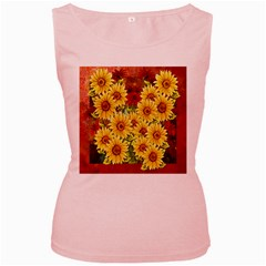 Sunflowers Flowers Abstract Women s Pink Tank Top