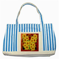 Sunflowers Flowers Abstract Striped Blue Tote Bag by Nexatart
