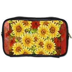 Sunflowers Flowers Abstract Toiletries Bags 2 Side by Nexatart