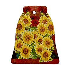 Sunflowers Flowers Abstract Bell Ornament (Two Sides) by Nexatart