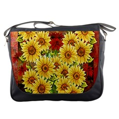 Sunflowers Flowers Abstract Messenger Bags