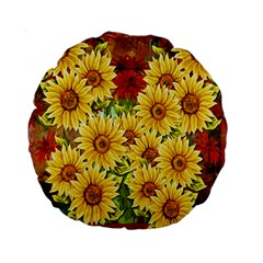 Sunflowers Flowers Abstract Standard 15  Premium Round Cushions