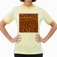 Stylized Background For Scrapbooking Or Other Women s Fitted Ringer T Shirts