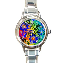 Abstract Background Backdrop Design Round Italian Charm Watch by Amaryn4rt