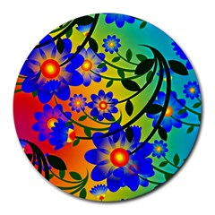 Abstract Background Backdrop Design Round Mousepads by Amaryn4rt