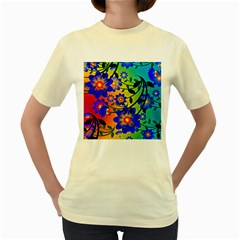 Abstract Background Backdrop Design Women s Yellow T Shirt
