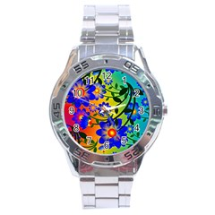 Abstract Background Backdrop Design Stainless Steel Analogue Watch